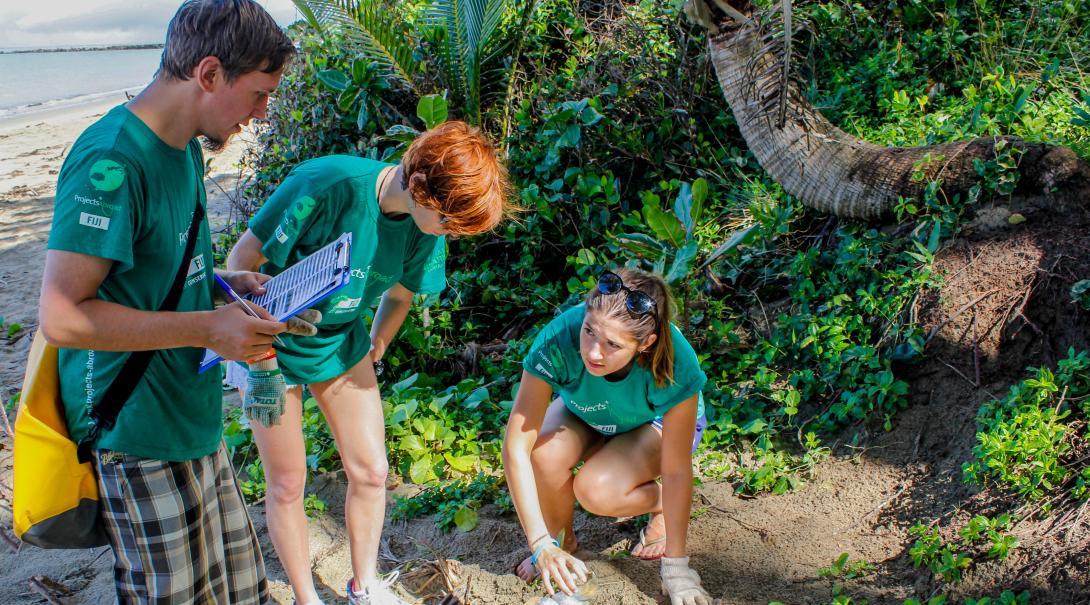 En su voluntariado ambiental en Fiyi nuestros voluntarios ayudan en limpiezas de playa.
